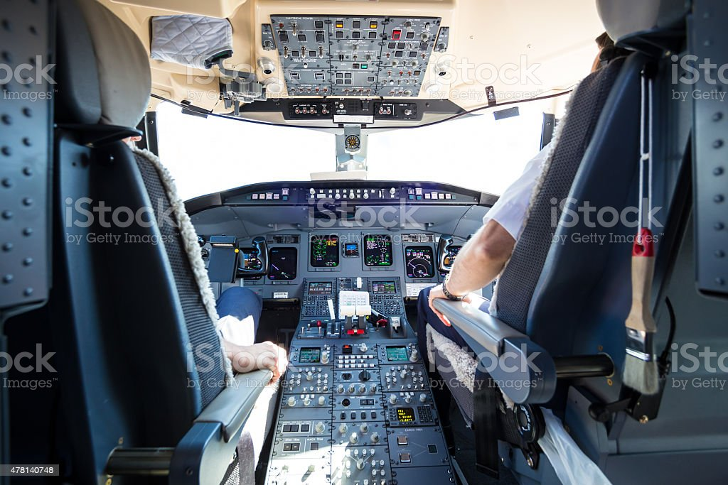 Interior of airplane cockpit. stock photo