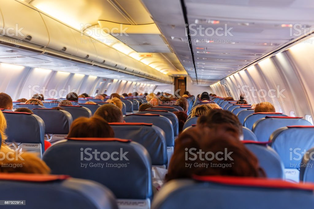 Interior of airplane stock photo