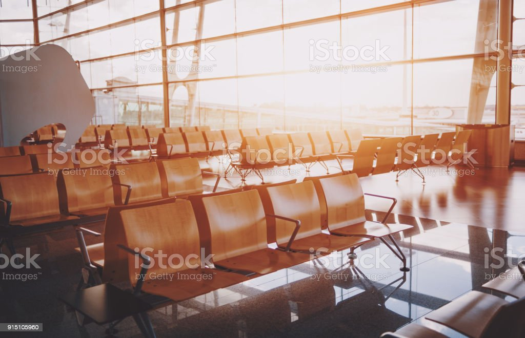 Interior of airport departure waiting room stock photo