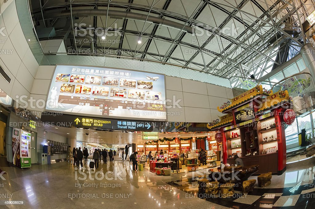 Interior of airport stock photo