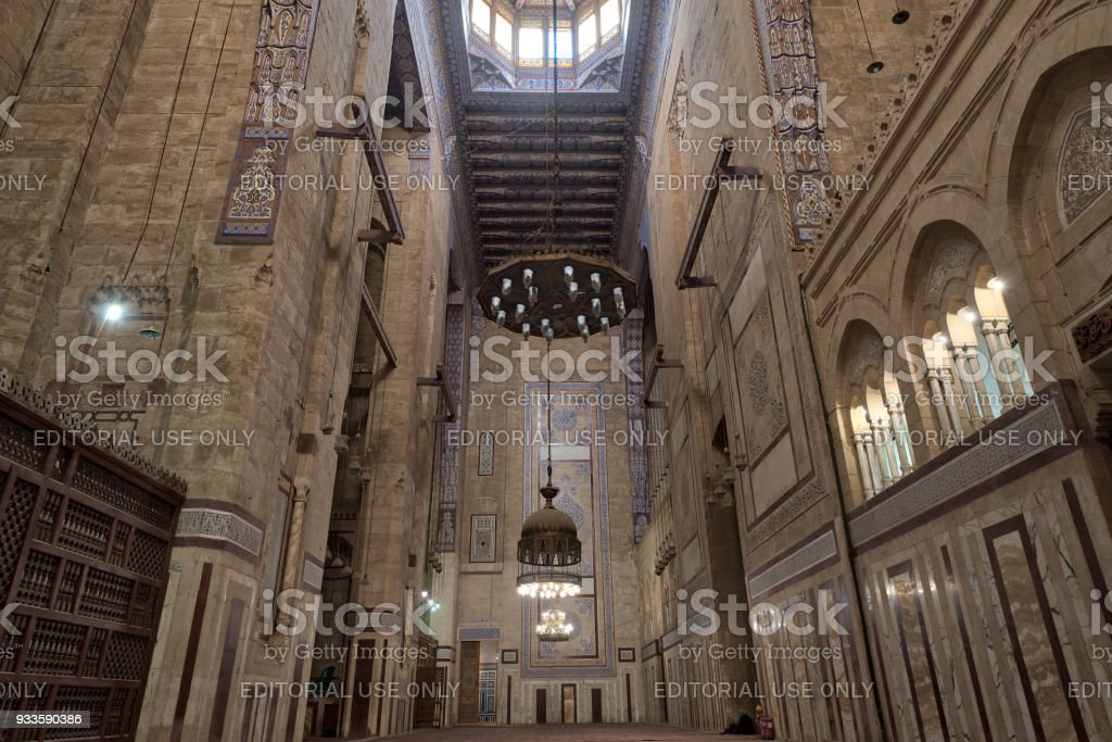 Interior of al Refai mosque with old decorated bricks stone wall colored marble decorations & Royalty Free Islam Door Mosque Light Pictures Images and Stock ...