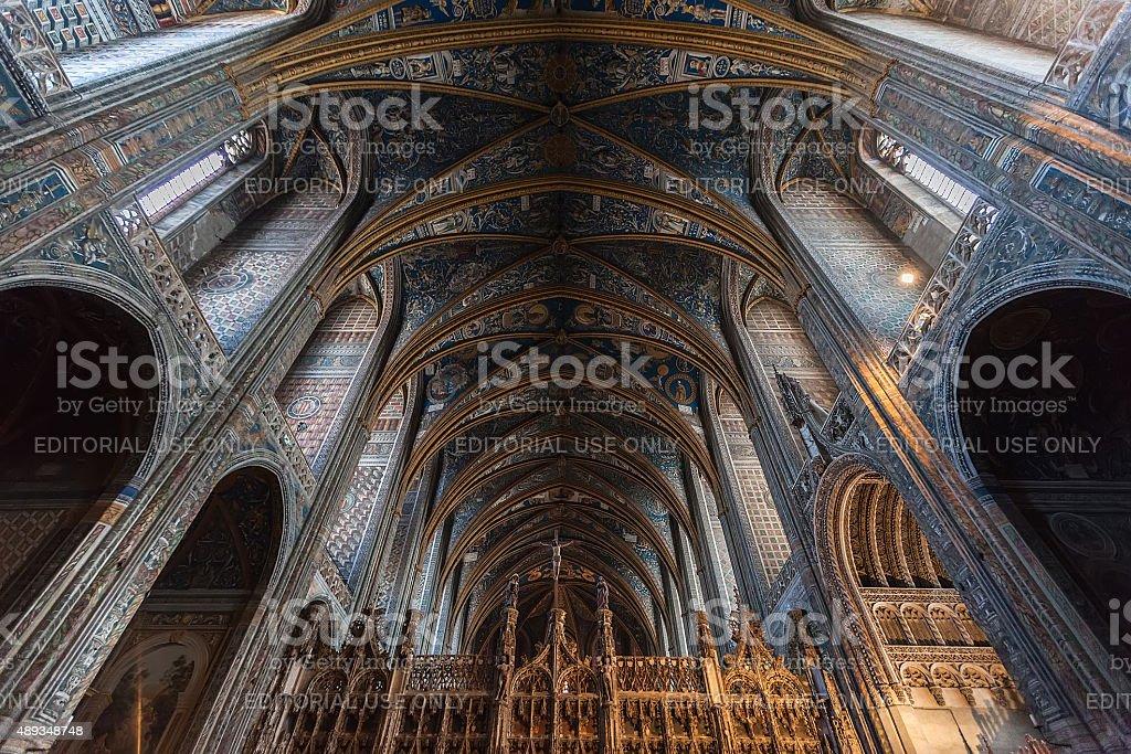 Interior of Albi Cathedral (Cathedral Basilica of Saint Cecilia) stock photo