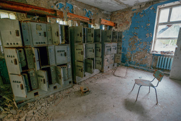 interior of an abandoned bus station and  left-luggage offices in the city of Pripyat in the Chernobyl exclusion zone after a radioactive disaster at the Chernobyl nuclear power plant stock photo