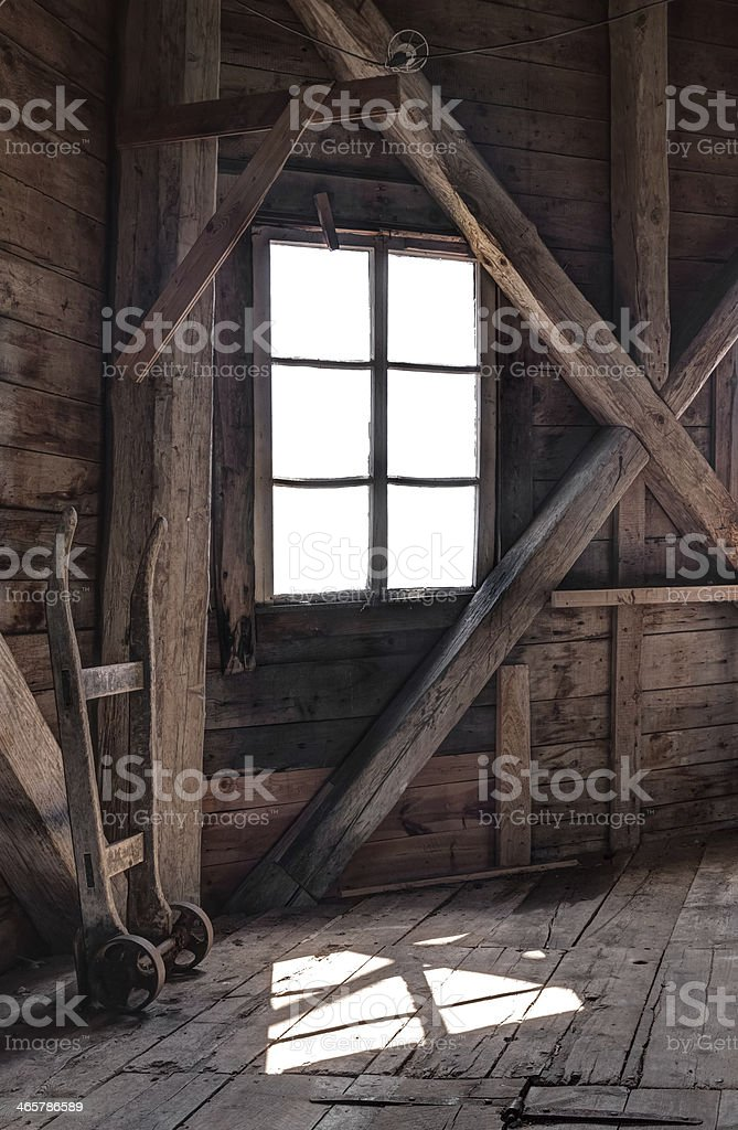 Interior of an abandoned wooden house stock photo