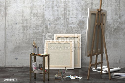 629775804 istock photo Interior of an art studio with an easel, canvas on a stretcher and a set of artist's tools. Design of a loft-style art workshop with a concrete wall and copy space. 3D rendering 1201830874