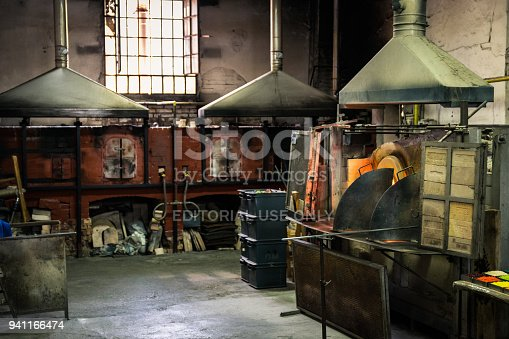 Murano, Italy - April 24, 2017: Interior of an artistic glassworks in Murano, Venice.