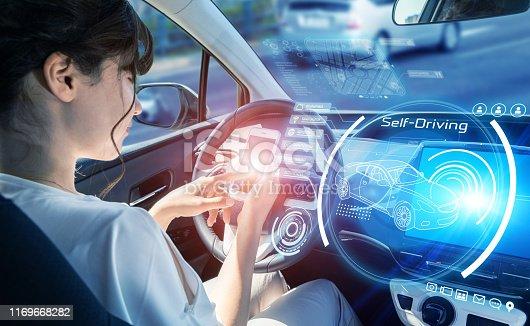 913581100 istock photo Interior of an autonomous car. Driverless vehicle. Futuristic transportation. 1169668282