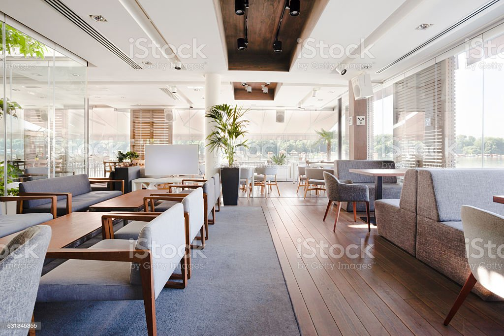 Interior of an elegant riverside cafe stock photo