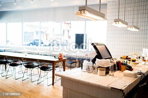 istock Interior of an empty coffee shop 1191068342