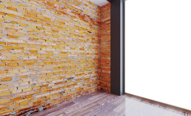 Interior de um escritório vazio com paredes de tijolo. O edifício, com grandes janelas no fundo das montanhas. Renderização 3D. - foto de acervo