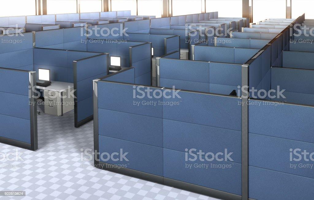 intérieur d'un bureau vide avec cabines. photo libre de droits