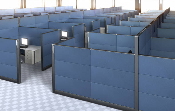 interior of an empty office with cubicles. - office cubicle stock pictures, royalty-free photos & images