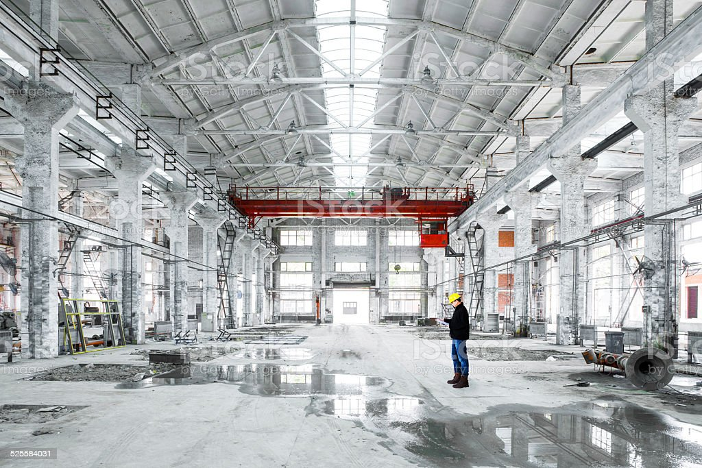 interior of an industrial building stock photo