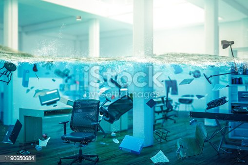 istock interior of an office completely flooded 1190650684