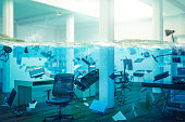 interior of an office completely flooded, objects floating in water and selective focus on a chair. 3d image render. concept of problems at work.