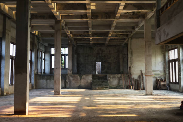interior of an old abandoned building - abandoned stock photos and pictures