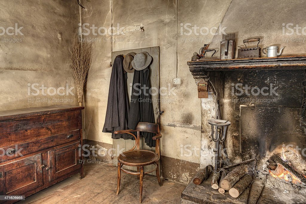 interior of an old country house stock photo