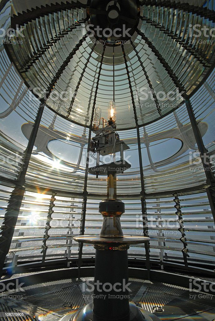Interior of an old Lighthouse at sunset royalty-free stock photo