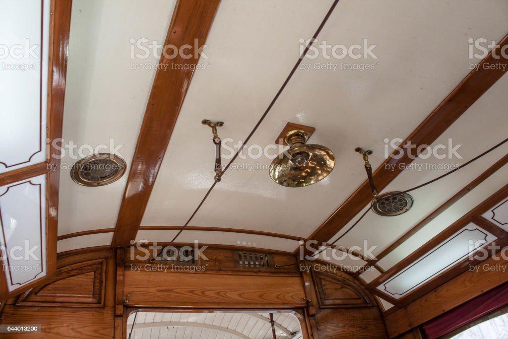 Interior of an old Lisbon tram stock photo