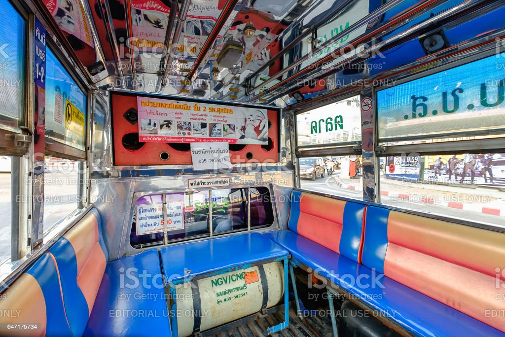 Interior of an old mini bus stock photo