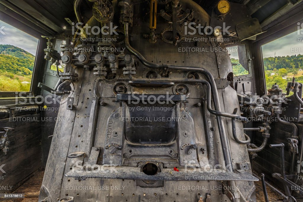 Interior of an old steam train engine stock photo