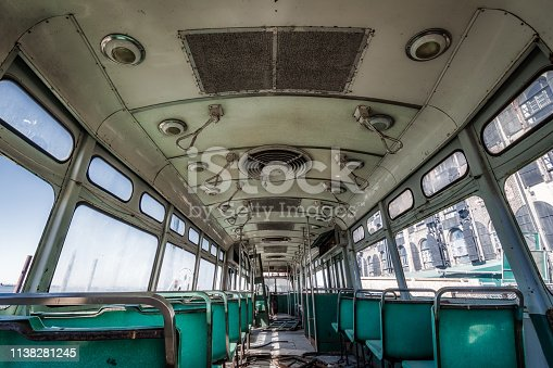 Interior of an old trolley abandoned in New York