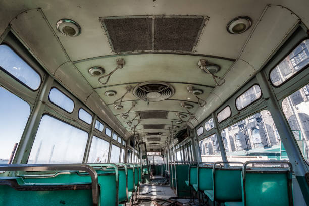 interior of an old trolley - desolated stock pictures, royalty-free photos & images