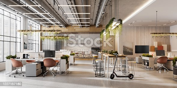 Creative office interior. 3D Rendering of modern and bright open plan office space.