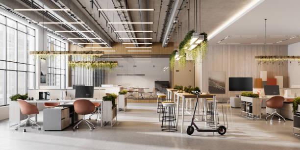 オープンプランオフィススペースのインテリア - オフィス ストックフォトと画像