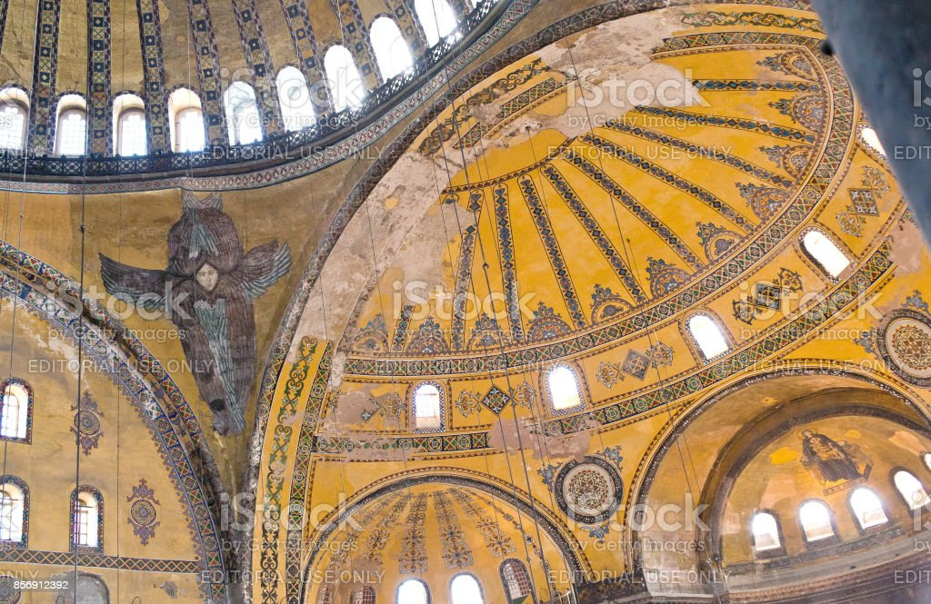 Interior of ancient Hagia Sophia Dome in Istanbul, Turkey stock photo