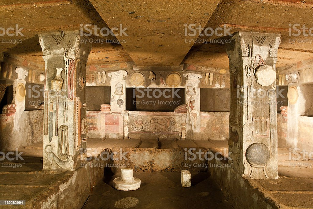 Interior of ancient tomb (etruscan necropolis) stock photo