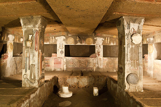 Interior of ancient tomb (etruscan necropolis) Etruscan civilization is a civilization of ancient Italy (from the 8th century BC onwards) in the area corresponding roughly to central Italy. tuff stock pictures, royalty-free photos & images