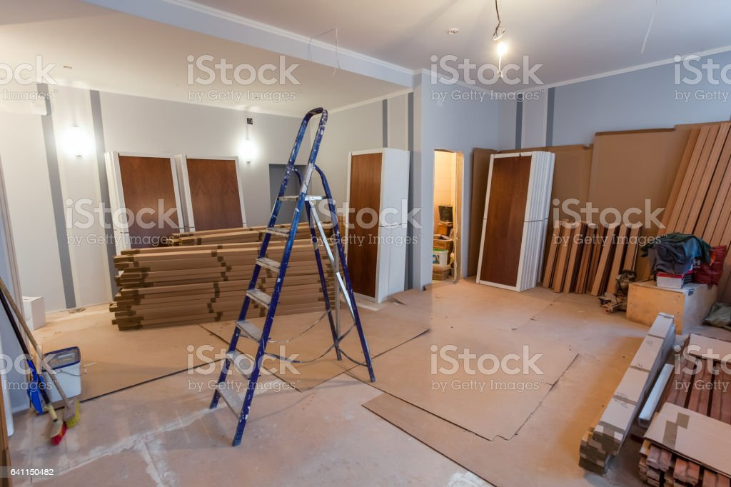 Interior of apartment  during on the renovation and construction stock photo