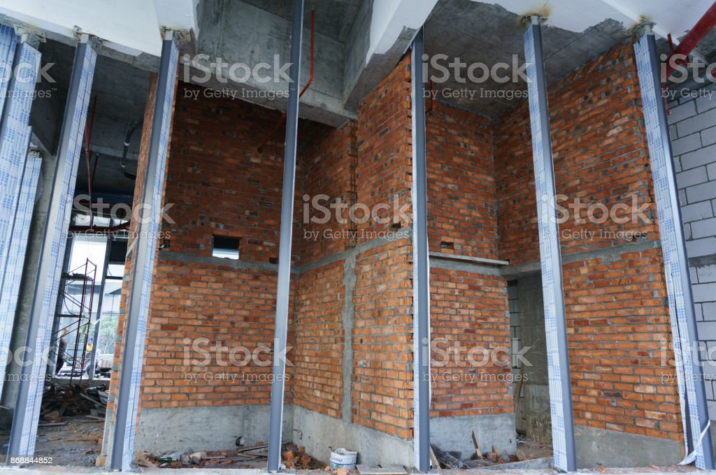 Interior of apartment with red brick stock photo