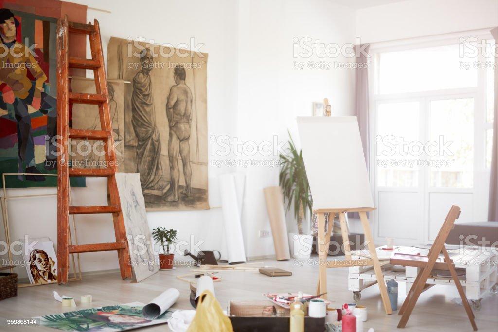 Interior of artist`s atelier. stock photo