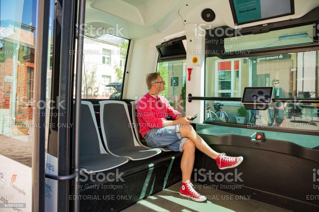 Innere des automatisierten ferngesteuerte Bus in Helsinki. – Foto