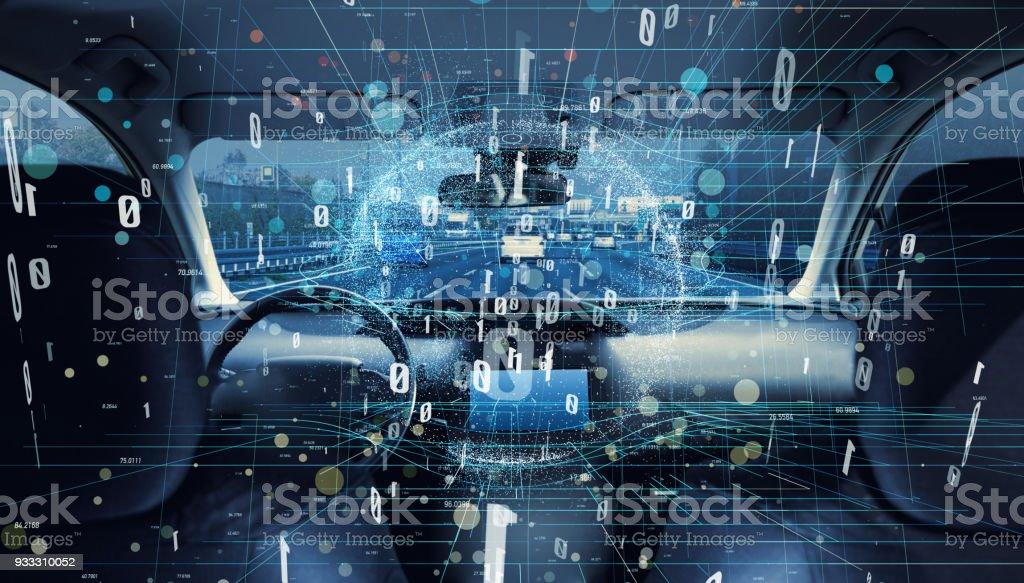 Innere Des Autonomen Auto Autodigitalisierungkonzept Stock ...