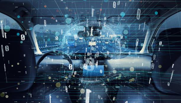 Interiör av autonoma bil. Bil digitaliseringen koncept. bildbanksfoto