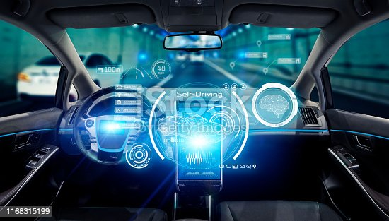 829191978 istock photo Interior of autonomous car. Driverless vehicle. Self driving. UGV. 1168315199