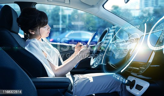 829191978 istock photo Interior of autonomous car. Driverless vehicle. Self driving. UGV. 1168322514