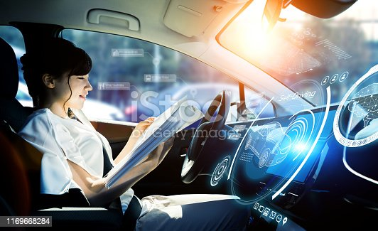 istock Interior of autonomous car. Driverless vehicle. Self driving. UGV. 1169668284