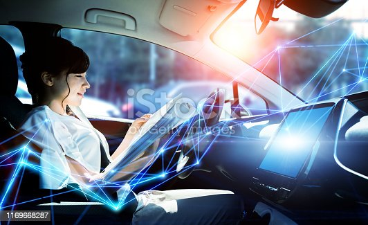 istock Interior of autonomous car. Driverless vehicle. Self driving. UGV. Advanced driver assistant system. 1169668287