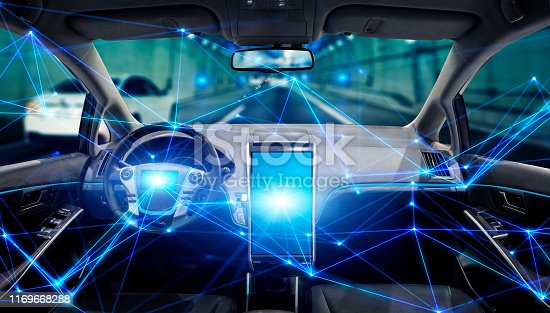 istock Interior of autonomous car. Driverless vehicle. Self driving. UGV. Advanced driver assistant system. 1169668288