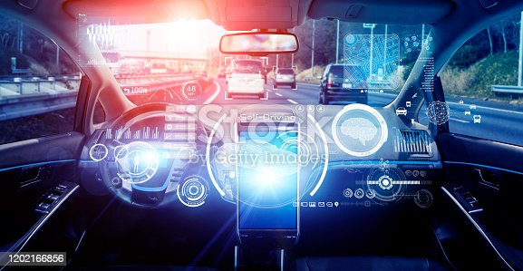 913581100 istock photo Interior of autonomous car. Driverless vehicle. Self driving. UGV. Advanced driver assistant system. 1202166856