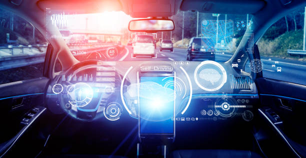 Interior of autonomous car. Driverless vehicle. Self driving. UGV. Advanced driver assistant system. Interior of autonomous car. Driverless vehicle. Self driving. UGV. Advanced driver assistant system. concept car stock pictures, royalty-free photos & images