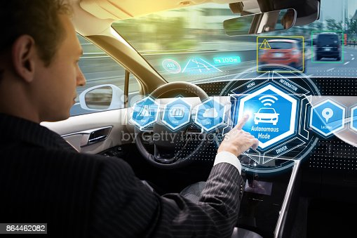 istock Interior of autonomous car. Self driving vehicle. Driverless car. 864462082