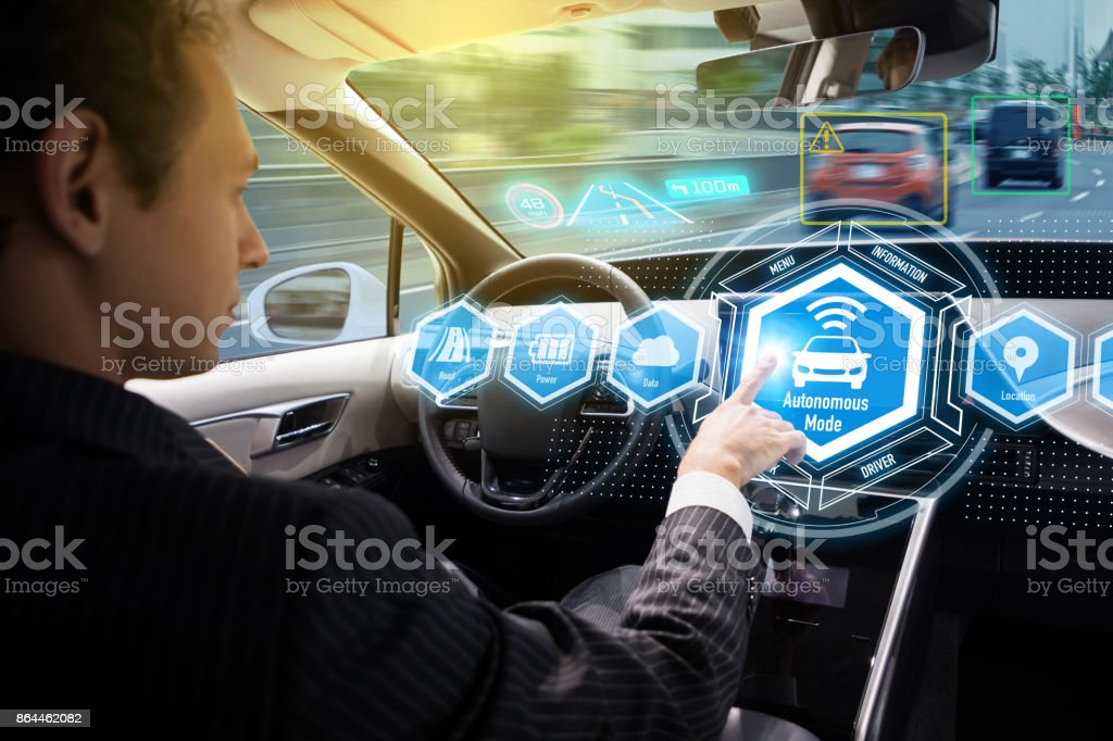Interior of autonomous car. Self driving vehicle. Driverless car. stock photo
