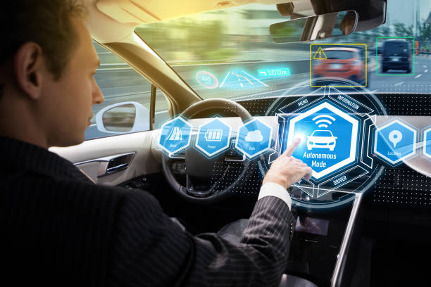 interior of autonomous car. self driving vehicle. driverless car. - self driving car stock photos and pictures