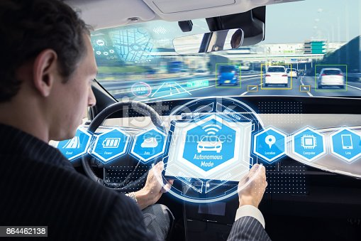 istock Interior of autonomous car. Self driving vehicle. Driverless car. 864462138