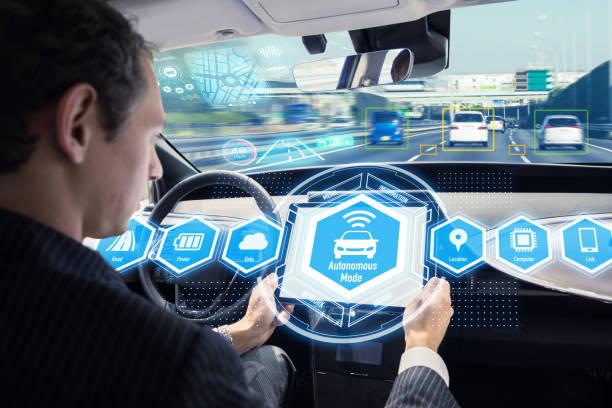 Interiör av autonoma bil. Självkörande fordon. Förarlös bil. bildbanksfoto